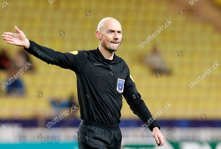 Stock Photo of French referee Antony Gautier reacts  during the French Cup round of 16 soccer match between AS Monaco and FC Metz at Stade Louis II, in Monaco, 22 January 2019.
