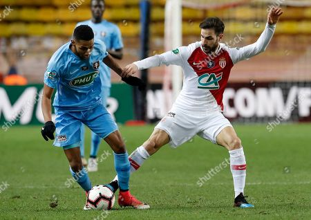 Cesc Fabregas (R) of AS Monaco and Marvin Gakpa (L) of FC Metz in action during the French Cup round of 16 soccer match between AS Monaco and FC Metz at Stade Louis II, in Monaco, 22 January 2019.