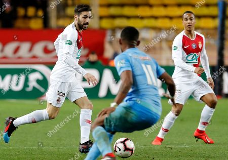 Cesc Fabregas (L) of AS Monaco in action during the French Cup round of 16 soccer match between AS Monaco and FC Metz at Stade Louis II, in Monaco, 22 January 2019.