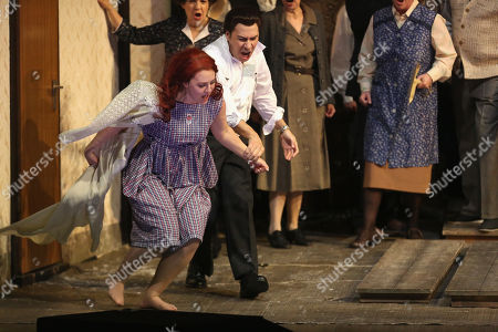 Stock Picture of Jesus Leon in the role of Elvino (R) and Venera Gimadieva in the role of Amina perform during a dress rehearsal at the Deutsche Oper for the opera 'La Sonnambula'by Vincenzo Bellini, Berlin, Germany, 22 January 2019. The opera's run begins on 26 January.