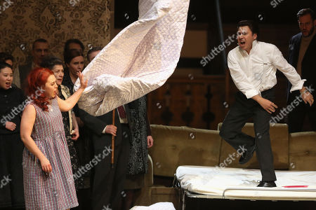 Stock Image of Jesus Leon in the role of Elvino (R) and Venera Gimadieva in the role of Amina perform during a dress rehearsal at the Deutsche Oper for the opera 'La Sonnambula'by Vincenzo Bellini, Berlin, Germany, 22 January 2019. The opera's run begins on 26 January.