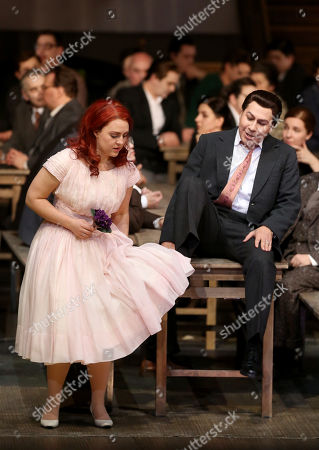 Stock Photo of Jesus Leon in the role of Elvino (R) and Venera Gimadieva in the role of Amina perform during a dress rehearsal at the Deutsche Oper for the opera 'La Sonnambula'by Vincenzo Bellini, Berlin, Germany, 22 January 2019. The opera's run begins on 26 January.