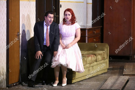 Jesus Leon in the role of Elvino (L) and Venera Gimadieva in the role of Amina perform during a dress rehearsal at the Deutsche Oper for the opera 'La Sonnambula' by Vincenzo Bellini, in Berlin, Germany, 22 January 2019. The opera's run begins on 26 January.