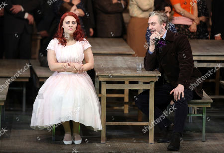 Ante Jerkunica in the role of Conte Rodolfo (R) and Venera Gimadieva in the role of Amina perform during a dress rehearsal at the Deutsche Oper for the opera 'La Sonnambula'by Vincenzo Bellini, Berlin, Germany, 22 January 2019. The opera's run begins on 26 January.