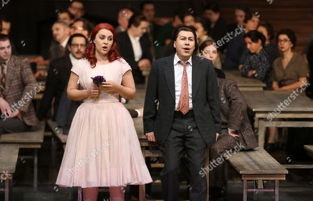 Jesus Leon in the role of Elvino (R) and Venera Gimadieva in the role of Amina perform during a dress rehearsal at the Deutsche Oper for the opera 'La Sonnambula'by Vincenzo Bellini, Berlin, Germany, 22 January 2019. The opera's run begins on 26 January.