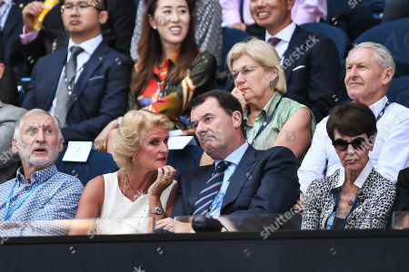 Gill Brook and Philip Brook watch the Woman's Singles Quarter Final match between Karolina Pliskova and Serena Williams