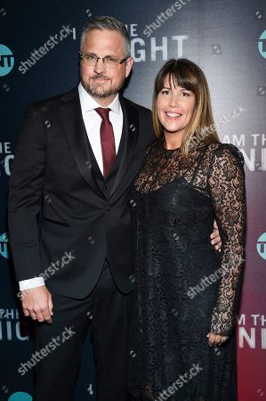 "Sam Sheridan, Patty Jenkins. Creator and executive producer Sam Sheridan and director and executive producer Patty Jenkins pose together at the premiere of the TNT mini-series ""I Am the Night"" at Metrograph, in New York"