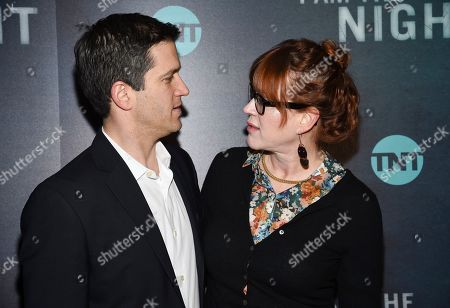 """Panio Gianopoulos, Molly Ringwald. Actor Molly Ringwald and husband Panio Gianopoulos attend the premiere of the TNT mini-series """"I Am the Night"""" at Metrograph, in New York"""