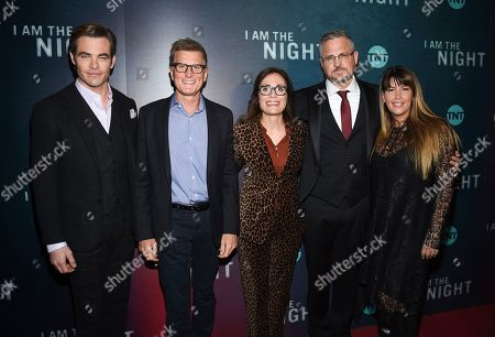 "Chris Pine, Kevin Reilly, Sarah Aubrey, Sam Sheridan, Patty Jenkins. Actor Chris Pine, left, President, TNT & TBS and chief content officer Kevin Reilly, EVP, original programming TNT Sarah Aubrey, executive producer Sam Sheridan and director Patty Jenkins pose together at the premiere of the TNT mini-series ""I Am the Night"" at Metrograph, in New York"