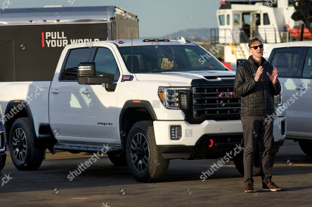 Stock Image of Duncan Aldred, vice president of Global GMC, speaks in front of a 2020 Sierra HD AT4 on display during a presentation of GMC's three new 2020 Sierra heavy duty pickup trucks in San Diego, California, USA, 22 January 2019.