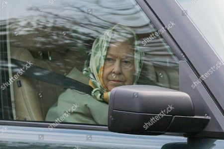 Queen Elizabeth II driving near Sandringham, Norfolk