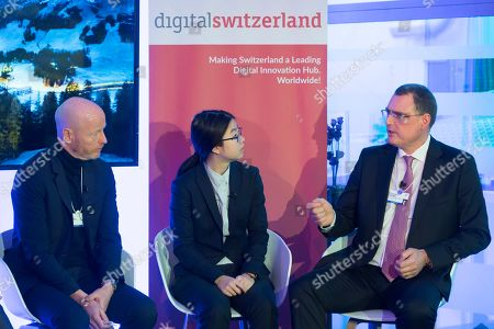 (L-R) Marc Walder, CEO Ringier and digitalswitzerland founder, Katie Yang Winner of the Credit Suisse Research Institute Academy Challenge 2018 and Thomas Jordan, President of the Swiss National Bank speak during the digitalswitzerland - Credit Suisse Breakfast on the sideline of the 49th annual meeting of the World Economic Forum (WEF) in Davos, Switzerland, 23 January 2019. The meeting brings together entrepreneurs, scientists, corporate and political leaders in Davos under the topic 'Globalization 4.0' from 22 to 25 January 2019.