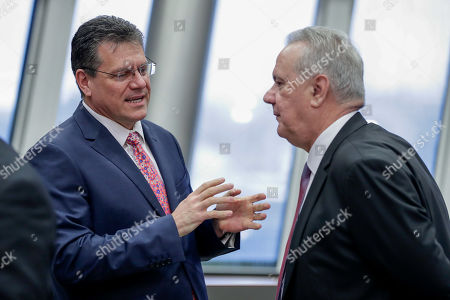 European Commission Vice-President for Energy Union Maros Sefcovic (L) and Commissioner for International Cooperation and Development of the European Union Neven Mimica during the weekly college meeting of the European commission in Brussels, Belgium, 23 January 2019.