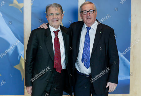 Former Italian Prime Minister and former President of the EU Commission Romano Prodi (L) is welcomed by European Commission President Jean-Claude Juncker ahead of a meeting at the European Commission in Brussels, Belgium, 23 January 2019.