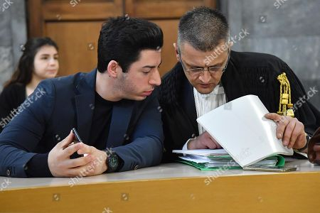 Renzo Bossi (L), son of founder and former leader of the far-right League (Lega) party Umberto Bossi, with his lawyer Carlo Beltremi (R) at the Justice Palace (Palazzo di Giustizia) for a hearing in a corruption case against him, Umberto Bossi and former Lega treasurer Francesco Belsito, in Milan, northern Italy, 23 January 2019. Milan's Attorney General demanded that the lawsuit filed by the Lega against former treasurer Francesco Belsito is to be extended to Umberto Bossi and his son Renzo. The League party has been at the center of a corruption scandal when, between 2008 and 2011, then treasurer Francesco Belsito was charged with money-laundering, embezzlement and fraud of using public funds for the party's expenses.