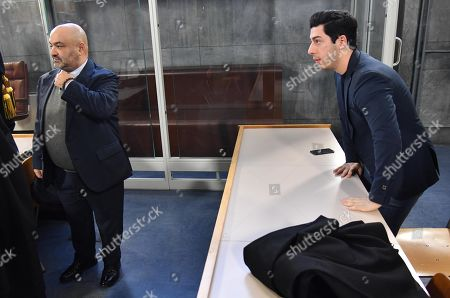 Former Lega treasurer Francesco Belsito (L) and Renzo Bossi (R), son of founder and former leader of the far-right League (Lega) party Umberto Bossi, are seen at the Justice Palace (Palazzo di Giustizia) for a hearing in a corruption case against them and Umberto Bossi, in Milan, northern Italy, 23 January 2019. Milan's Attorney General demanded that the lawsuit filed by the Lega against former treasurer Francesco Belsito is to be extended to Umberto Bossi and his son Renzo. The League party has been at the center of a corruption scandal when, between 2008 and 2011, then treasurer Francesco Belsito was charged with money-laundering, embezzlement and fraud of using public funds for the party's expenses.