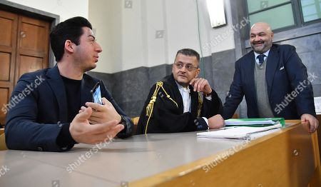 Former Lega treasurer Francesco Belsito (R) and Renzo Bossi (L), son of founder and former leader of the far-right League (Lega) party Umberto Bossi, and his layer Carlo Beltremi (C), are seen at the Justice Palace (Palazzo di Giustizia) for a hearing in a corruption case against them and Umberto Bossi, in Milan, northern Italy, 23 January 2019. Milan's Attorney General demanded that the lawsuit filed by the Lega against former treasurer Francesco Belsito is to be extended to Umberto Bossi and his son Renzo. The League party has been at the center of a corruption scandal when, between 2008 and 2011, then treasurer Francesco Belsito was charged with money-laundering, embezzlement and fraud of using public funds for the party's expenses.