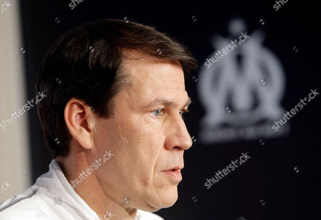 Stock Picture of Olympique Marseille coach Rudi Garcia answers reporters during a press conference, at the club's headquarters of La Commanderie, in Marseille, southern France