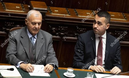 Stock Photo of Italian Minister for European Affairs Paolo Savona (L) and the Italian Deputy Premier and Labour Minister Luigi Di Maio (R) during the Question Time at the  Chamber of Deputies, Rome, Italy, 23 January 2019.Di Maio, according to news reports, answered to the questions about the basic income reform (Reddito di cittadinanza) promoted by five stars Movement and recently approved by the Italian Government.