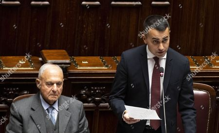 Italian Minister for European Affairs Paolo Savona (L) and the Italian Deputy Premier and Labour Minister Luigi Di Maio (R) during the Question Time at the  Chamber of Deputies, Rome, Italy, 23 January 2019. Di Maio, according to news reports, answered to the questions about the basic income reform (Reddito di cittadinanza) promoted by five stars Movement and recently approved by the Italian Government.
