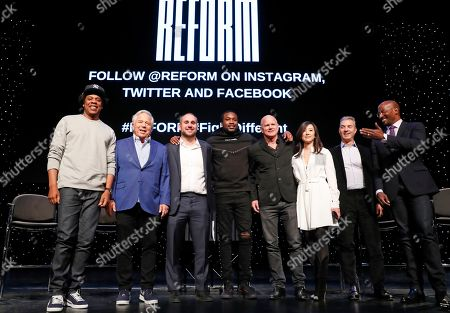 "Shawn Jay-Z Carter, Robert Kraft, Michael Rubin, Meek Mill, Michael Novogratz, Clara Wu Tsai, Daniel Loeb, Van Jones. Entrepreneur and recording artist Shawn ""Jay-Z"" Carter, from left, poses with New England Patriots owner Robert Kraft, Philadelphia 76ers co-owner and Fanatics executive chairman Michael Rubin, recording artist Meek Mill, Galaxy Digital CEO and founder Michael Novogratz, Brooklyn Nets co-owner Clara Wu Tsai, Third Point CEO and founder Daniel S. Loeb, and REFORM Alliance CEO and political activist Van Jones after the group announced a partnership to transform the American criminal justice system, in New York"
