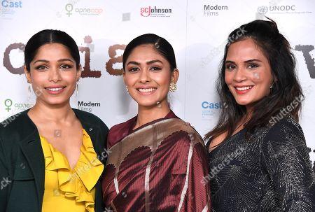 Stock Picture of Freida Pinto, Mrunal Thakur and Richa Chadda