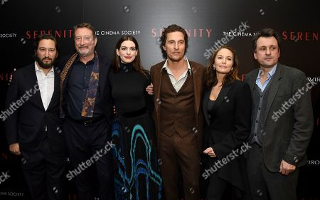 """Greg Shapiro, Steven Knight, Anne Hathaway, Matthew McConaughey, Diane Lane, Guy Heeley. Producer Greg Shapiro, left, director Steven Knight, Anne Hathaway, Matthew McConaughey, Diane Lane and producer Guy Heeley attend a special screening of """"Serenity"""" at the Museum of Modern Art, in New York"""
