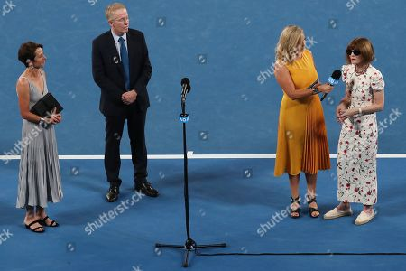 Director of Tennis Australia Jayne Hrdlicka (L), CEO of Tennis Australia Craig Tiley (2-L), journalist Rebecca Maddern (2-R) and American fashion editor Anna Wintour (R) are seen during an on court ceremony in honor of Anna Wintour at Rod Laver Arena on day 11 of the Australian Open Grand Slam tennis tournament in Melbourne, Australia, 24 January 2019.