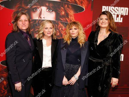 "Cindy Holland, Amy Poehler, Natasha Lyonne, Leslye Headland. Cindy Holland, from left, Amy Poehler, Natasha Lyonne and Leslye Headland attend Netflix's ""Russian Doll"" season one premiere at Metrograph, in New York"