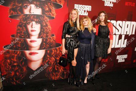 "Chloe Sevigny, Natasha Lyonne, Stella Schnabel. Chloe Sevigny, from left, Natasha Lyonne and Stella Schnabel attend Netflix's ""Russian Doll"" season one premiere at Metrograph, in New York"