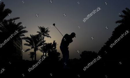 Stephen Gallacher of Scotland tees off at the 10th hole in round one of the Dubai Desert Classic golf tournament in Dubai, UAE, 24 January 2019.