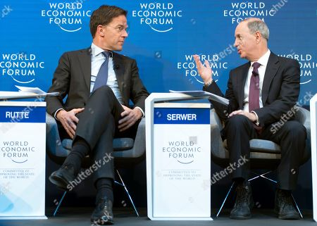 Stock Image of Prime Minister of the Netherlands Mark Rutte (L) speaks with Yahoo Finance editor-in-chief Andy Serwer (R) at a panel session during the 49th Annual Meeting of the World Economic Forum, WEF, in Davos, Switzerland, 24 January 2019. The meeting brings together entrepreneurs, scientists, corporate and political leaders in Davos under the topic 'Globalization 4.0' from 22 to 25 January 2019.