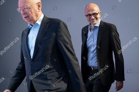 Satya Nadella, CEO Microsoft, (R) arrives with German Klaus Schwab, Founder and Executive Chairman of the World Economic Forum, WEF, during the 49th annual meeting of the World Economic Forum, WEF, in Davos, Switzerland, 24 January 2019. The meeting brings together entrepreneurs, scientists, corporate and political leaders in Davos under the topic 'Globalization 4.0' from 22 - 25 January 2019.