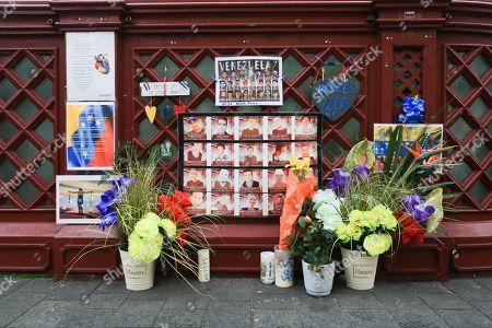 Floral shrine outside the Venezuelan embassy, London