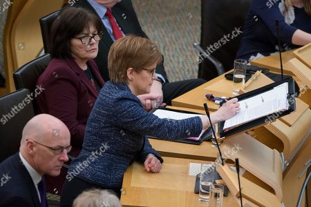 Scottish Parliament First Minister's Questions - John Swinney, Deputy First Minister and Cabinet Secretary for Education and Skills, Jeane Freeman, Cabinet Secretary for Health and Sport, and Nicola Sturgeon, First Minister of Scotland and Leader of the Scottish National Party (SNP)