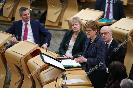 Scottish Parliament First Minister's Questions - Derek Mackay, Cabinet Secretary for Finance, Economy and Fair Work, Roseanna Cunningham, Cabinet Secretary for Environment, Climate Change and Land Reform, Nicola Sturgeon, First Minister of Scotland and Leader of the Scottish National Party (SNP), and John Swinney, Deputy First Minister and Cabinet Secretary for Education and Skills