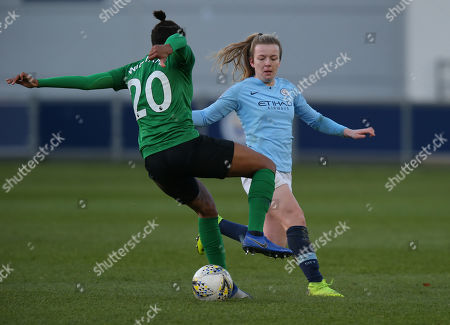 Victoria Williams of Brighton Women and Lauren Hemp of Manchester City Women