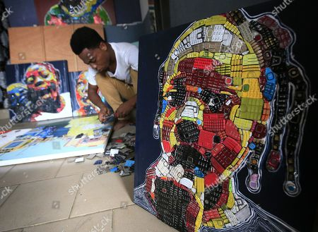 Art created from old telephone keypads, Abidjan