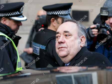 Stock Picture of Former Scottish first minister Alex Salmond (C) leaves Edinburgh Sheriff Court with his legal team after he was arrested and charged by police in Edinburgh, Scotland, Britain, 24 January 2019. Media reports on 24 January 2019 state Salmond said he is 'innocent of any criminality'. Alex Salmond has been arrested by police. Police Scotland confirmed that a 64 year old man had been charged and said a report would be sent to prosecutors.
