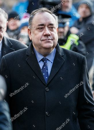Former Scottish First Minister Alex Salmond (C) arrives at Edinburgh Sheriff Court with his legal team after he was arrested and charged by police, in Edinburgh, Scotland, 24 January 2019. Others are not identified. According to media reports on 24 January 2019 Alex Salmond has been arrested by police. Police Scotland confirmed that a 64 year old man had been charged and said a report would be sent to prosecutors.