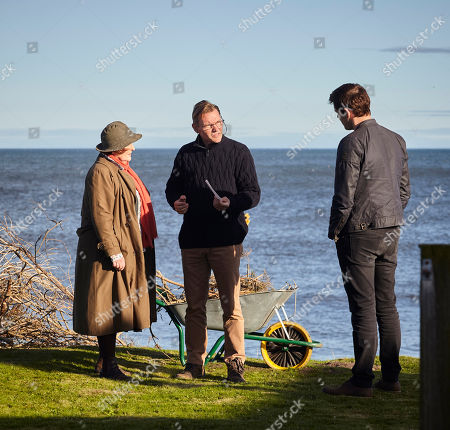 Stock Picture of Brenda Blethyn as DCI Vera Stanhope, Michael McKell as Michael Claythorpe and Kenny Doughty as DS Aiden Healy.