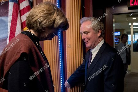 Lisa Murkowski, Chris Van Hollen. Sen. Lisa Murkowski, R-Alaska, left, and Sen. Chris Van Hollen, D-Md., right, speak as they leave a news conference after two Senate bills to ending the partial government shutdown fail on Capitol Hill in Washington