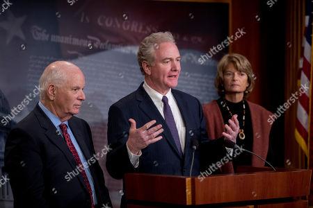 Ben Cardin, Lisa Murkowski, Chris Van Hollen. From left, Sen. Ben Cardin, D-Md., Sen. Chris Van Hollen, D-Md., and Sen. Lisa Murkowski, R-Alaska, hold a news conference after two Senate bills to ending the partial government shutdown failed on Capitol Hill in Washington