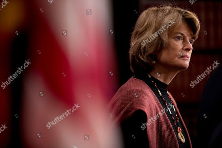 Sen. Lisa Murkowski, R-Alaska, appears at a news conference after two Senate bills to ending the partial government shutdown failed on Capitol Hill in Washington