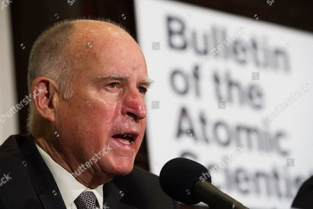 Former California Gov. Jerry Brown speaks after unveiling the Doomsday Clock during The Bulletin of the Atomic Scientists news conference in Washington, . The Doomsday Clock is set at two minutes to Midnight