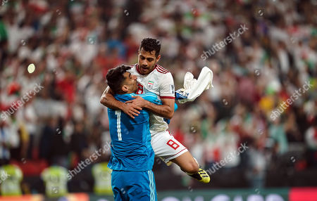 Morteza Pouraliganji of Iran and Alireza Beiranvand of Iran celebrating advancing to the semi finals during China v Iran at the Mohammed Bin Zayed Stadium in Abu Dhabi, United Arab Emirates, AFC Asian Cup, Asian Football championship