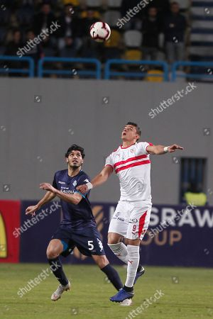 Zamalek SC player Omar Al Saed (R) in action against Pyramids FC player Ali Gabr (L) during the Egyptian league soccer match between Pyramids FVand Zamalek SC in Cairo, Egypt, 24 January 2019.