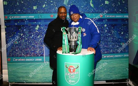Supporters queue to test Carabao drinks and have their photo taken with the Carabao Cup trophy and Chelsea legend Eddie Newton