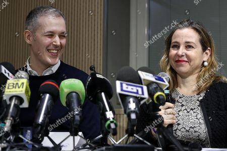 Paolo Montresor (L), the father of Alex, and the Italian Minister of health Giulia Grillo (R) deliver a speech during the press conference on the successful outcome of the transplant on the little Alex Montresor, in Rome, Italy, 24 January 2019. Alessandro Maria Montresor, aka Alex, a 19-month-old boy was born with reactive hemophagocytic syndrome, a rare genetic disorder. Doctors at the Vatican-run children's hospital said the child is in 'good condition', and that the bone marrow transplant treatment was concluded 'in a positive way'.