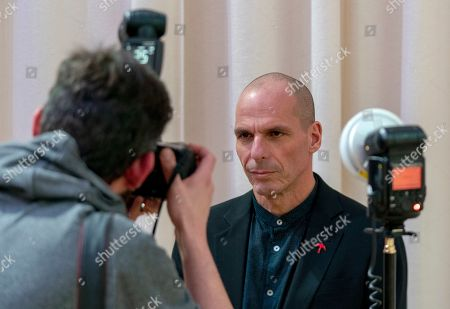 Yanis Varoufakis (R), lead Member of European Parliament candidate for 'Demokratie in Europa' (lit. Democracy in Europe) party in Germany for the movement 'European Spring', poses for a photographer in Berlin, Germany, 24 January 2019. 'Demokratie in Europa' will present its election program on 25 January 2019 for the EU election.